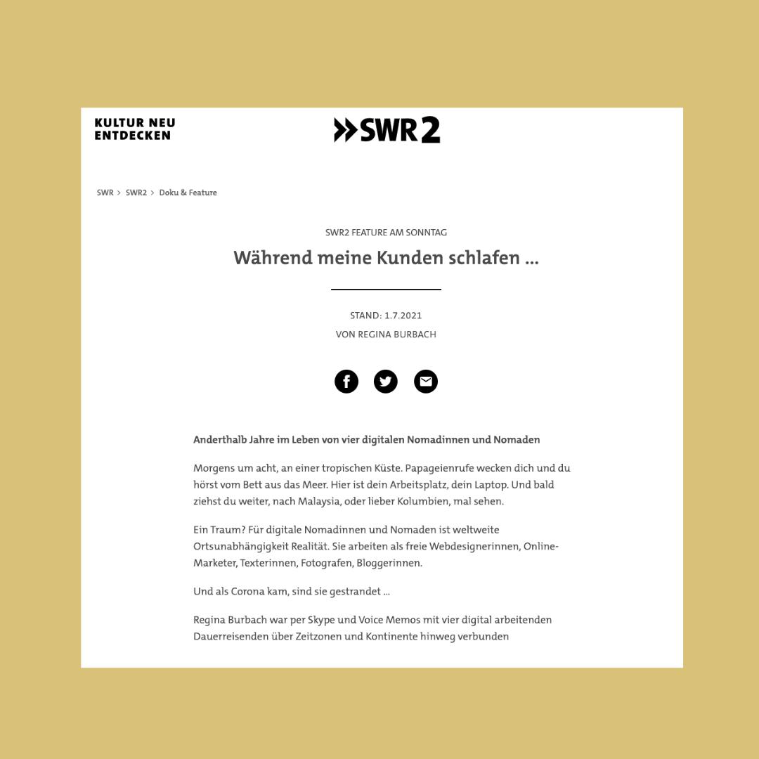 SWR2 Während Meine Kunden Schlafen